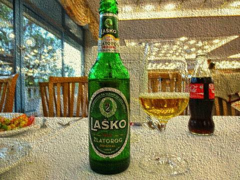 Der Zlatorog-Legende wird heute auf einer der belietesten Biersorten Sloweniens lebendig gehalten - er ziert die Etiketten des  Laško Zlatorog