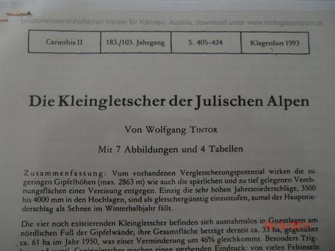 Wolfgang Tintor - Die Kleingletscher der Julischen Alpen - www.biologiezentrum.at