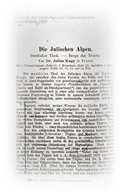 Aufsatz Julius Kugys in der Zeitschrift des Deutschen und Österreichichen Alpenvereines 1883