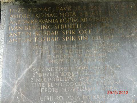 Gedenktafel für Kugys legendäre Bergführer aus dem Trentatal nahe Tozbars Haus