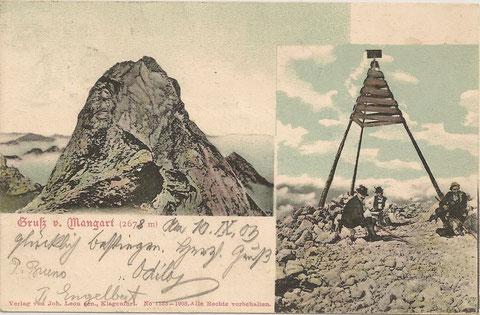 Mangart-Gipfelrast 100 Jahre früher - Gruß vom Mangart am 10.09.1903