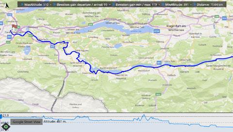 Die Original Strecke des Drauradweges von Villach bis zum Klopeiner See - ca. 75 km