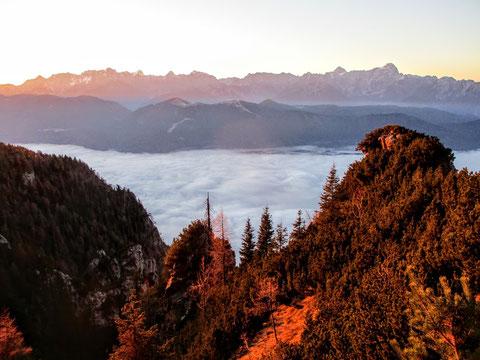 Dobratsch, Villacher Alpe, Julische Alpen, Sonnenaufgang