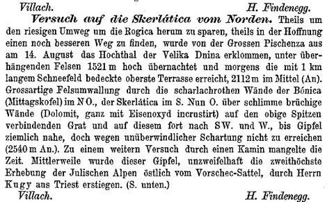 Bericht von H. Findenegg über seinen Erstersteigungsversuch der Skralatica am 14. August 1880