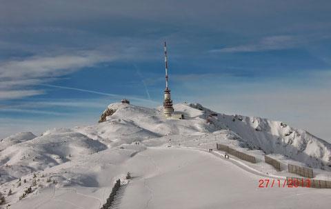 Skitour, Dobratsch, Villacher Alpe, Heiligengeist, Gipfelhaus, Winter, Wanderwege