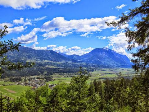 Nur kurz fällt der Blick hinunter ins schöne Gailtal mit dem markanten Dobratsch / Villacher Alpe...weitertreten...