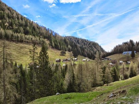 Die Dolinza-Alm auf 1.460m - gleich dahinter ist die Grenze zu Italien