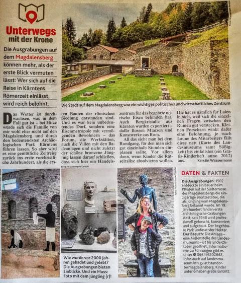 Bericht in der Kronen Zeitung über die Ausgrabungen auf dem Magdalensberg / 26.07.2021