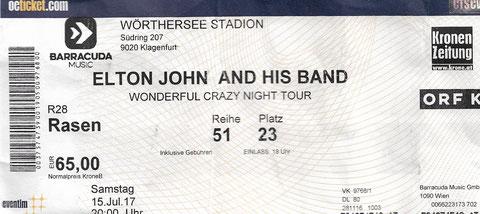 Elton John, Klagenfurt, Stadion, Ticket