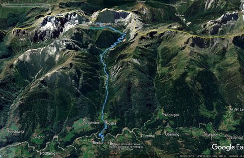 Wolayersee, Karnische Alpen, Streckenaufzeicnung google earth