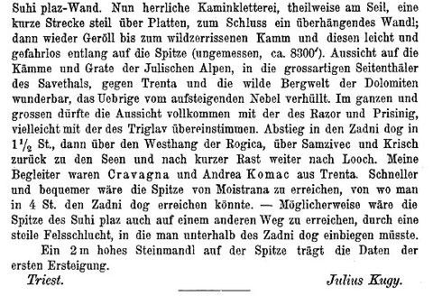 Bericht von Julius Kugy über die geglückte Erstersteigung der Skralatica am 24. August 1880