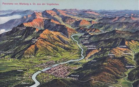 Historische Ansichtskarte von Marburg an der Drau um 1900
