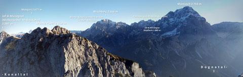 Julische Alpen, Mangart, Triglav, Montasch, Luschari, Dobratsch, Miezegnot, Kanaltal