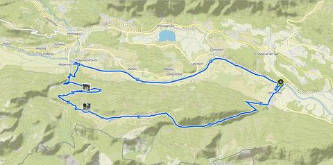 Streckenaufzeichnung der Egger Alm - MTB-Rundtour