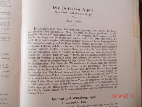 Die Julischen Alpen - Westlicher Teil von Adolf Gstirner, ZDÖAV 1901