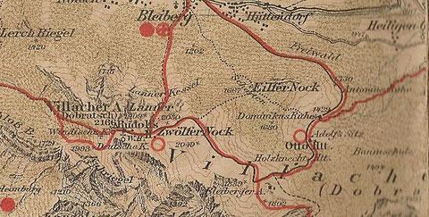 Ottoütte am Dobratsch - Wanderkarte Freytag & Berndt um 1910