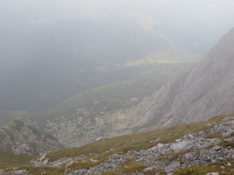 Blick zurück zum Ausgangspunkt unser heutigen Tour, den Lanzenpass (Passo del Cason di Lanza)