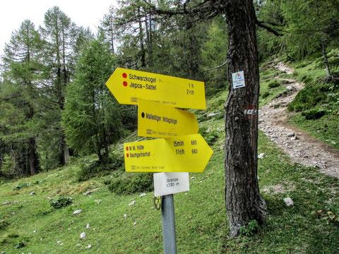 An dieser Weggabelung auf 1.730m führt der Alpe Adria Trail links hinunter nach Slowenien - rechts zieht der alte Grenzweg hinauf, der weiter zum Wurzenpass führt