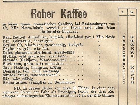 Preisliste aus dem Jahr 1895