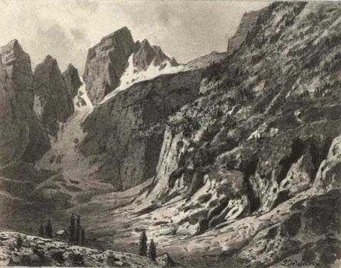 Der Jalovec von Norden aus dem Tamar (Planica)-Tal in einer Zeichnung aus dem Jahr 1891