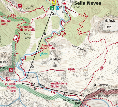 Sella Nevea, Prevala, Wandern