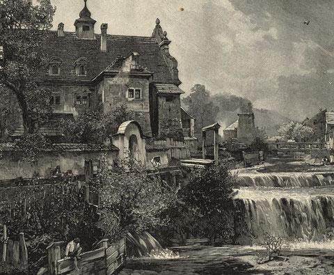 Das Palais Struggl zu Lebzeiten Kajetan Schnableggers im Jahr 1892 mit dem Luscharibach