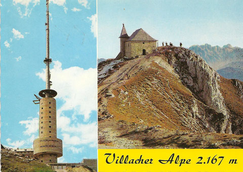 Der im Bau befindliche ORF-Sendeturm am Dobratsch im Jahre 1971