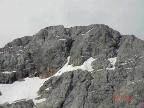 Triglav-Gipfel mit Aljazev stolp (Aljaz-Turm)