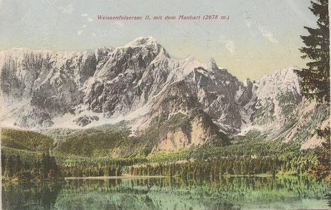 Weissenfelsersee II. mit dem Mangart um 1910