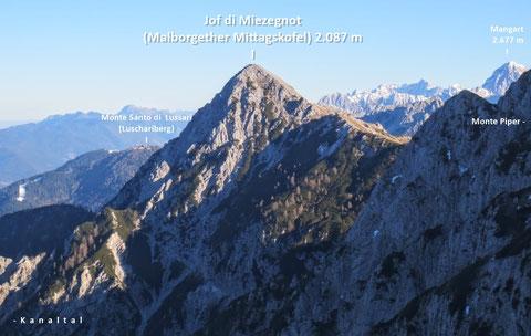ulische Alpen, Mangart, Triglav, Montasch, Luschari, Dobratsch, Miezegnot, Zweispitz