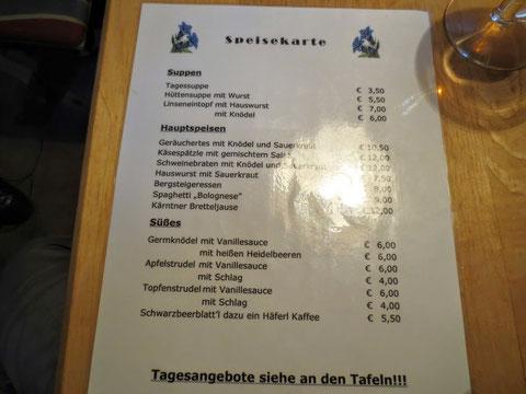 Schmackhafte Gerichte finden sich auf der Speisekarte der Osnabrücker Hütte - am liebsten würde man von allem kosten!