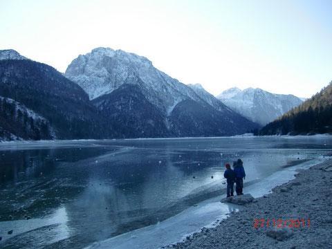 Raibler See (Lago del Predil), Julische Alpen, Winter