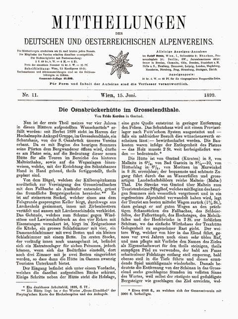 Bericht zur Eröffnung der ersten Osnabrücker Hütte im Jahr 1899 in den Mittheilungen des DOEAV