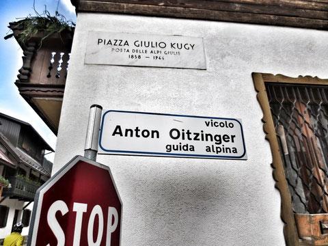Piazza Giulio Kugy und Anton Oitzinger Gasse in Wolfsbach (Valbruna)