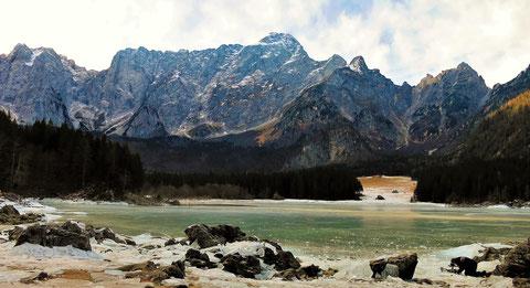 Weissenfelser Seen - Laghi di Fusine - Oberer See (Lago superiore), Mangart