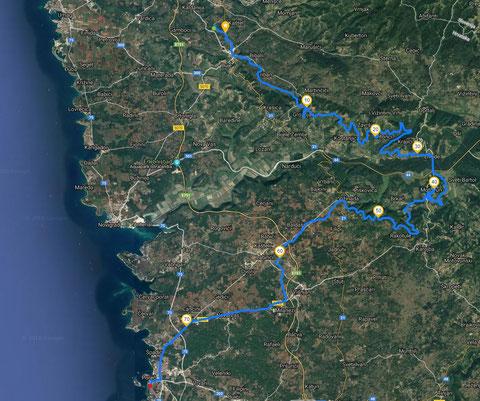 Streckenverlauf unserer Parenzana-Tour am 2. Tag