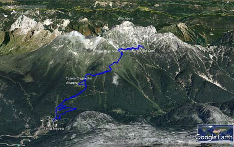 Sella Nevea, Rifugio Corsi, Julische Alpen, wandern