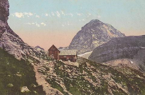 Die vom Villacher Alpenverein 1874 erbaute Mangart-Hütte im Jahre 1909