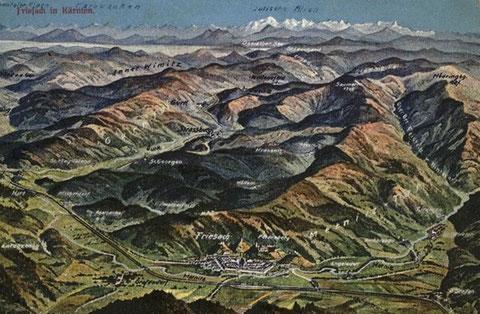 Relief von Friesach um 1920 - im Hintergrund die Julischen Alpen