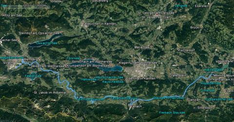 Unsere Streckenaufzeichnung mit dem Umweg über Ferlach - ca. 85 km