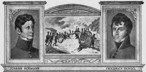 """Die beiden Helden der österreichisch-ungarischen Monarchie, die beide ein """"Löwendenkmal"""" erhielten, Hermann am Predil, Hensel bei Malborgeth"""