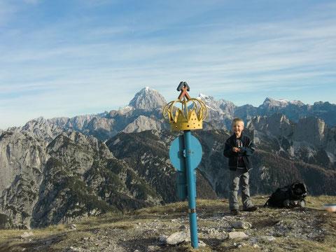 Blick zu den östlichen Julischen Alpen mit Mangart, Jalovec und Triglav