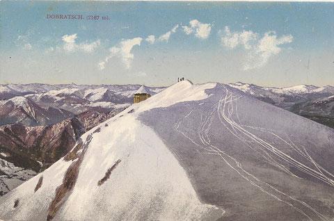 Der schon damals bei den Skifahrern beliebte Dobratschgipfel im Winter 1911