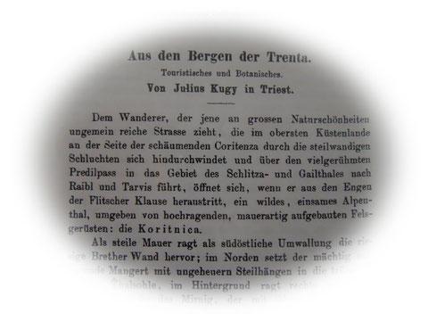 Früher Aufsatz Julius Kugys in der Zeitschrift des Deutschen und Österreichischen Alpenvereins 1878
