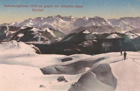 Dass der Dobratsch schon immer beliebtes Skigebiet war zeigt diese Aufnahme um 1915