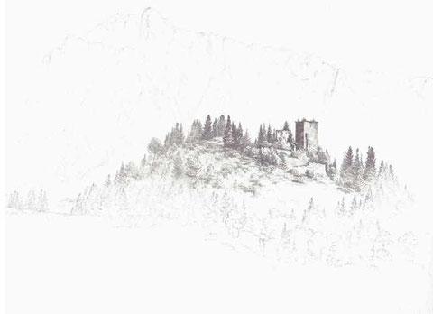 Die 1797 durch französiche Truppen gesprengte Burgruine Straßfried nach einer Zeichung des berühmten Kärntner Landschaftsmalers Markus Pernhart um 1860