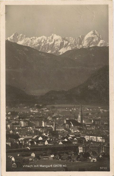 Villach mit dem Mangart 1929
