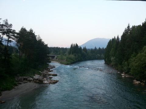 Herrliche morgendliche Frische um 6 Uhr Früh bei der Mündung der Gailitz in die Gail
