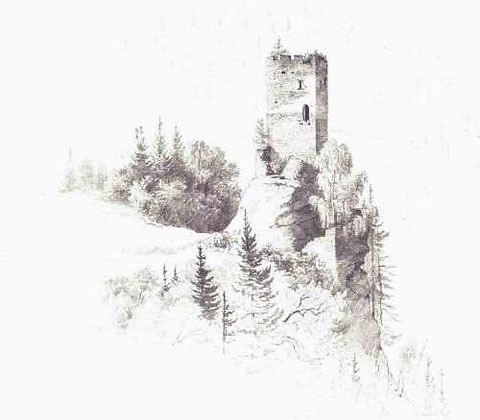Die Turmburg gezeichnet vom berühmten Kärntner Landschaftsmaler Markus Pernhart (1824-1871)