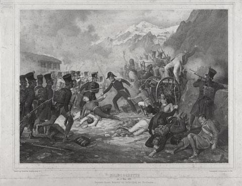 Der Heldentod des Hauptmann Hensel am 17. Mai 1809 bei der Verteidigung des Fortes in Malborgeth